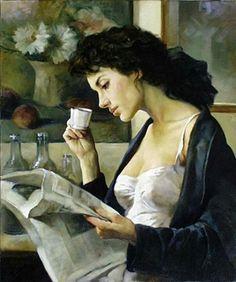 Gianni Strino (Italia, 1953) - El café de la mañana. Óleo sobre lienzo, 50 x 40 cm (colección privada)