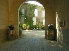 Chateau view from an arched portico