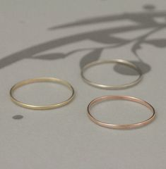 Thin Rose, Yellow or White Gold Band--Solid 14K Super Skinny Minnie Plain Jane Stacking Ring or Thin Wedding Band