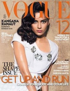 Indian actress Kangana Ranaut wearing Burberry Prorsum S/S14 Pre-Collection on the January cover of Vogue India