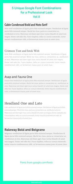 Best Google Web Font Combinations | Font pairings