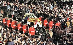 Members of the Welsh Guards accompanied Diana's coffin, draped in the royal standard with an ermine border, on the one-hour-forty-seven-minute ride through London streets. Eight of the guards were casket bearers.