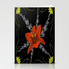 Lily and Gladiolas abstract Stationery Cards