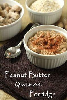 peanut butter quinoa porridge, peanuts, quinoa flakes, cinnamon. i'll substitute almond butter for the peanut butter....