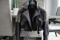 Handmade Brando Style Punk Half Silver Spiked Woman Studded Leather Jacket #Handmade #Biker #PartyCocktail Studded Leather Jacket, Black Leather Belt, Half Jacket, Jacket Style, Biker Style, Jacket Men, Punk Jackets, Biker Jackets, Time 7