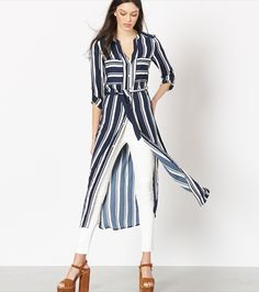 Belted Maxi Shirt Dress with Slits