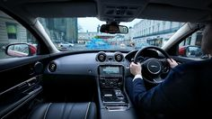 jaguar land rover '360 virtual urban windscreen' utilizes heads-up display technology to provide information to keep the driver's eyes on the road