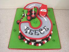 Car themed 3rd birthday cake
