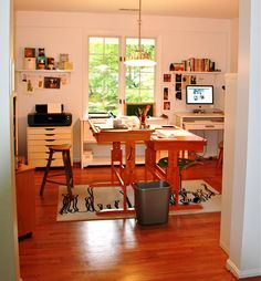 home studio { ikea flat file; 2, differing-height tables take center stage }