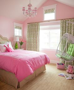 Girls bedroom painted in pink paint color – Ballet Slippers by Benjamin Moore.  Alexandra Rae.
