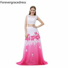 Forevergracedress Sexy Two Piece Long Prom Dress A Line Sleeveless Lace Applique Chiffon Party Gown Plus Size Custom Made
