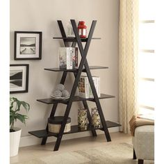 Bring your A game when decorating your home with this oxford A-frame bookshelf.