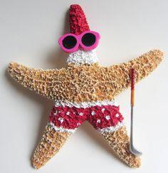 Starfish Christmas Ornament  Golfing Santa by CereusArt on Etsy, $15.00