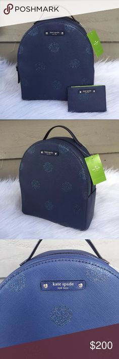 Kate spade backpack and matching card holder New with tag Kate spade backpack and matching card holder. Blue with blue sparkle polka dots. This is a small backpack, more of a fashion backpack. Doesn't hold my laptop for instance. Comes with matching card holder.  No trades! kate spade Bags Backpacks