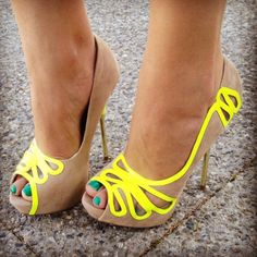 nude and bright yellow peep-toe pumps Nude High Heels, Stiletto Heels, Neon Heels, Beige Heels, Nude Pumps, Neutral Pumps, Crazy Shoes, Me Too Shoes, Suede Shoes