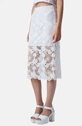 Topshop Lace Pencil Skirt