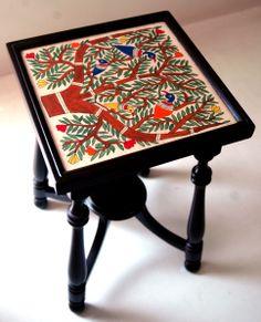 Mithila hand painted teak wood side table