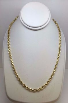 """SOLID DIAMOND CUT 14K YELLOW GOLD ROPE 3.65 MM 20"""" CHAIN NECKLACE 18.4 GRAMS #Chain"""