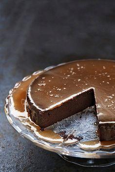 chocolate truffle cake + salted caramel sauce