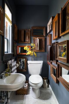 Get inspired by Eclectic Bathroom Design photo by Chango & Co. Wayfair lets you find the designer products in the photo and get ideas from thousands of other Eclectic Bathroom Design photos. Bad Inspiration, Bathroom Inspiration, Bathroom Ideas, Bathroom Designs, Bathroom Updates, Bathroom Gallery, Bathroom Small, Dark Gray Bathroom, Bathroom Inspo