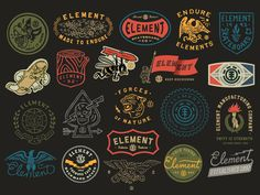 Instead of diligently posting one job at a time - here are MANY jobs posted all at once. Selected graphics done for Element Skateboards over the last two years
