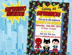 SUPER HERO Invitation- SuperHero party for Spiderman, Superman and Batman - Boy Birthday Party on Etsy, $10.00