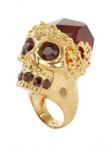 """Click through for several """"Ghoulish Jewels – Halloween Inspired Jewelry"""" -- Shown: Alexander McQueen 'Gold Ruby Stone Skull' Cocktail Ring"""