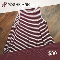 Free People beach tank Free People stripe beach tank.  Maroon and white stripe tank.  Excellent condition. Free People Tops Tank Tops