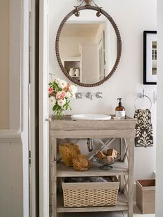 Diy vanity? Paint it black; enclose top shelf for cleaning supplies,  leave bottom shelf opened. Store essentials in baskets below.