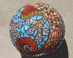 Gecko Garden Mosaic Gazing Upcycled Bowling Ball by MAKink