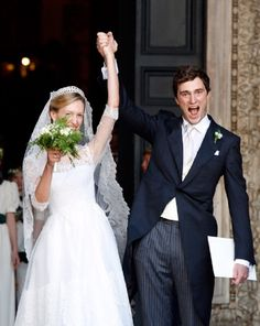 Prince Amedeo of Belgium and Princess Elisabetta Maria celebrate after their wedding ceremony at Basilica Santa Maria in Trastevere on 05.07.2014 in Rome, Italy.