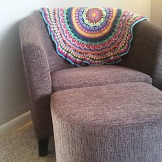 My new chair is the perfect spot for my #zenmandalaproject in between rounds. I love having it out to look at! It is nice to see how much progress I have really made. #acornerofmyhome #myhouse #craftastherapy #crochet #crochetaddict #instacrochet #crochet