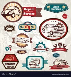 Car service retro emblem collection of vintage lab Vector Image by baldyrgan Car Repair Service, Auto Service, Vintage Labels, Vintage Cars, 2012 Nissan 370z, Garage Logo, Car Vector, New School Year, Go Shopping