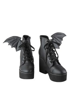 Ironfist Iron Fist Bat Wing Boots - OK, not for me, but I bet there are plenty of young women who would love them, lol. Lace Up Heel Boots, Black Lace Up Shoes, Black Platform Boots, Lace Up High Heels, Heeled Boots, Shoe Boots, Laced Boots, Tall Boots, Fur Boots
