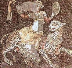 Ψηφιδωτό από το δάπεδο στο σπίτι των προσωπείων στη Δήλο, με το θεό Διόνυσο να ιππεύει μια λεοπάρδαλη.