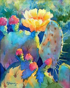 CACTUS COLORS by Mary Shepard Watercolor ~ 14 x 10 image size art garden indoor plants Art Watercolor, Watercolor Cactus, Watercolor Landscape, Cactus Painting, Cactus Art, Painting & Drawing, Cactus Plants, Cactus Decor, Southwestern Art