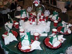 Decoração de Mesa Natalina Verde e Vermelha