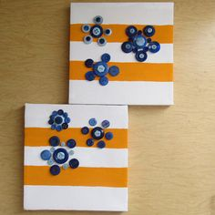Set of 2 Canvas Button Art Orange Striped by JasminesTreasuresLLC