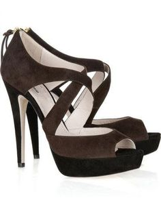 Trendy Coffee Glace Kid Leather 4 3/4'' High Heel Sandals For Women