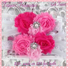 $20- each or $33 for both #photogrid. A beautiful shabby chic floral headband accented with curly feathers & a rhinestone & pearl center is perfect for your beautiful twin girls or your sweet little girl. I can also make these has a clip if preferred. A perfect accessory for newborn pictures, 1st year pictures, photo props or whatever you desire. #taiyastreasures #babyheadband #shabbychic #love #flowerheadband #lace #babygirl #flowerclip #flower #shabbyflower #girls #facebook #twins…