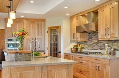 hickory cabinets design ideas granite countertops tile backsplash recessed kitchen lighting (love these colors!)
