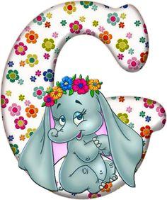 Flowered Alphabet with an Elephant. Flower Alphabet, Alphabet Art, Alfabeto Disney, Crochet Towel, Birthday Letters, Disney Coloring Pages, Baby Scrapbook, Christmas Photos, Christmas Letters