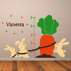 Personalized Growth Chart with Rabbits and Carrots - Instead of drawing pencil…
