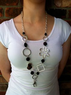 Black and Silver Lanyard Necklace by MyMinderella on Etsy, $15.00