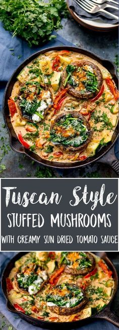 Tuscan Style Stuffed Mushrooms in Creamy Sun Dried Tomato Sauce makes a great veggie dish, packed with flavour! Gluten free too! #glutenfreevegetarianfood #glutenfreedinner #tuscanmushrooms #mushrooms KitchenSanctuary.com