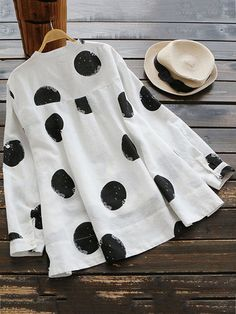 Gracila Casual Polka Dot Irregular Long Sleeve Stand Collar Women Blouses