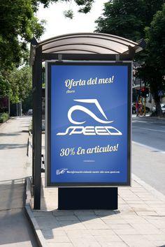 Diseño Gráfico, Logo Speed, Mupi, Publicidad Exterior.