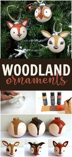 Turn a plain round ornament into a cute woodland creature easily with Americana® Multi-Surface Acrylics. Turn a plain round ornament into a cute woodland creature easily with Americana® Multi-Surface Acrylics. Woodland Christmas, Noel Christmas, Diy Christmas Ornaments, Handmade Ornaments, Christmas Ideas, Ornaments Ideas, Christmas Decorations Diy Easy, Cheap Christmas, Amazon Christmas