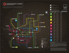 Information graphic // Neon Subway map by Lemongraphic