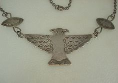 RARE Early Fred Harvey Navajo Stamped Silver 2 Headed Thunderbird Necklace | eBay